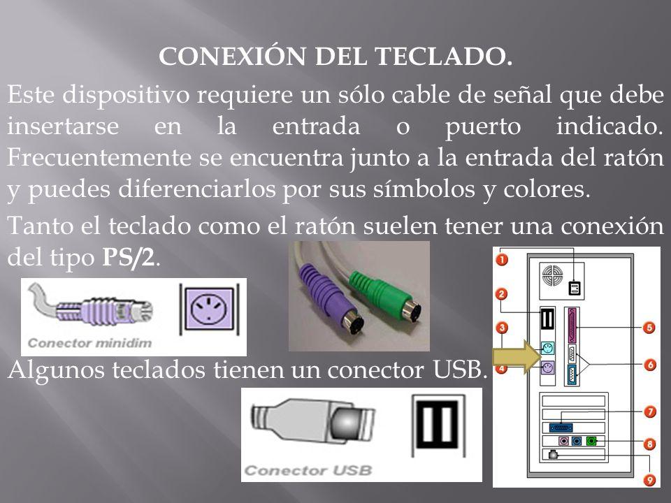 CONEXIÓN DEL TECLADO. Este dispositivo requiere un sólo cable de señal que debe insertarse en la entrada o puerto indicado. Frecuentemente se encuentr