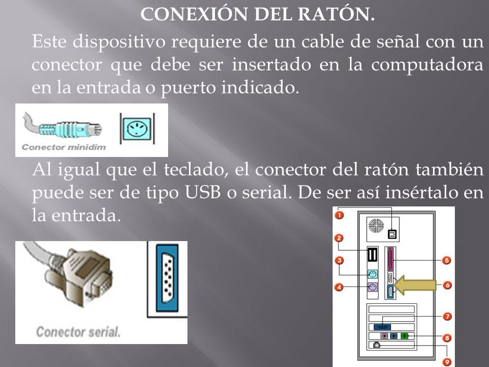 CONEXIÓN DEL RATÓN. Este dispositivo requiere de un cable de señal con un conector que debe ser insertado en la computadora en la entrada o puerto ind