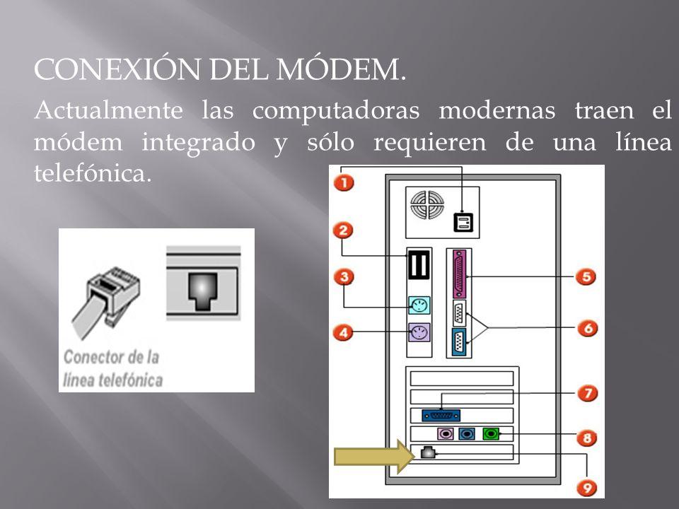 CONEXIÓN DEL MÓDEM. Actualmente las computadoras modernas traen el módem integrado y sólo requieren de una línea telefónica.