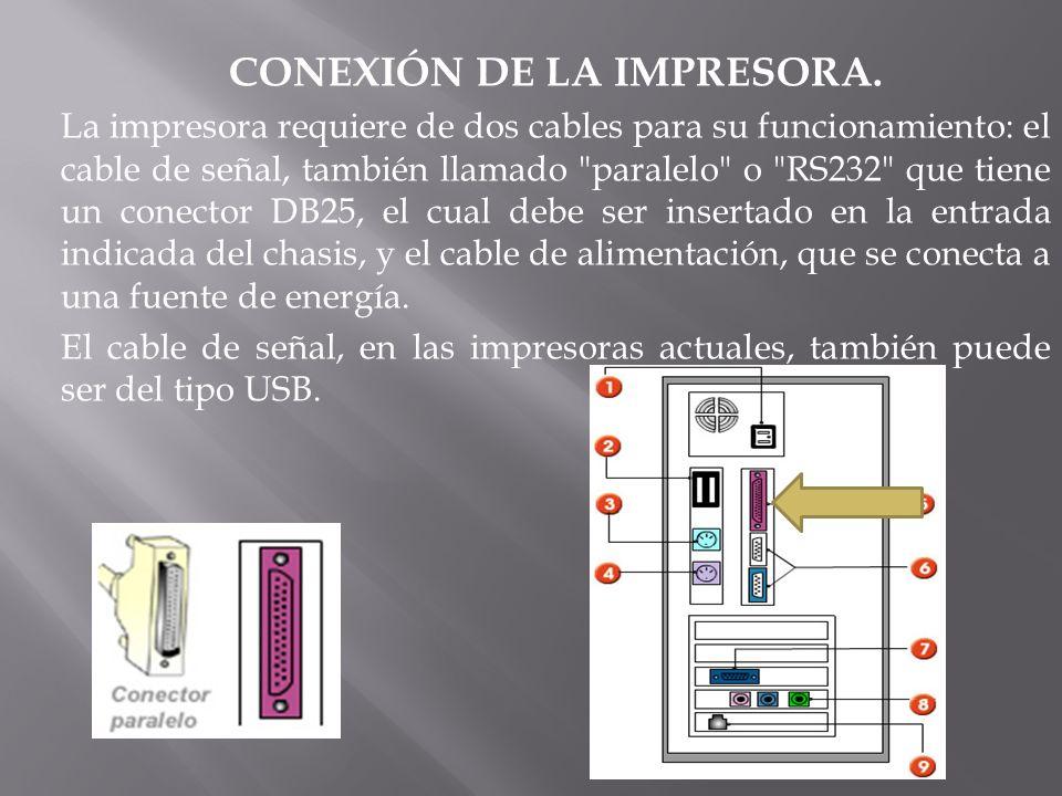 CONEXIÓN DE LA IMPRESORA. La impresora requiere de dos cables para su funcionamiento: el cable de señal, también llamado