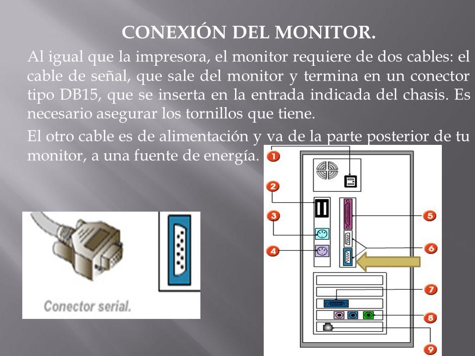 CONEXIÓN DEL MONITOR. Al igual que la impresora, el monitor requiere de dos cables: el cable de señal, que sale del monitor y termina en un conector t