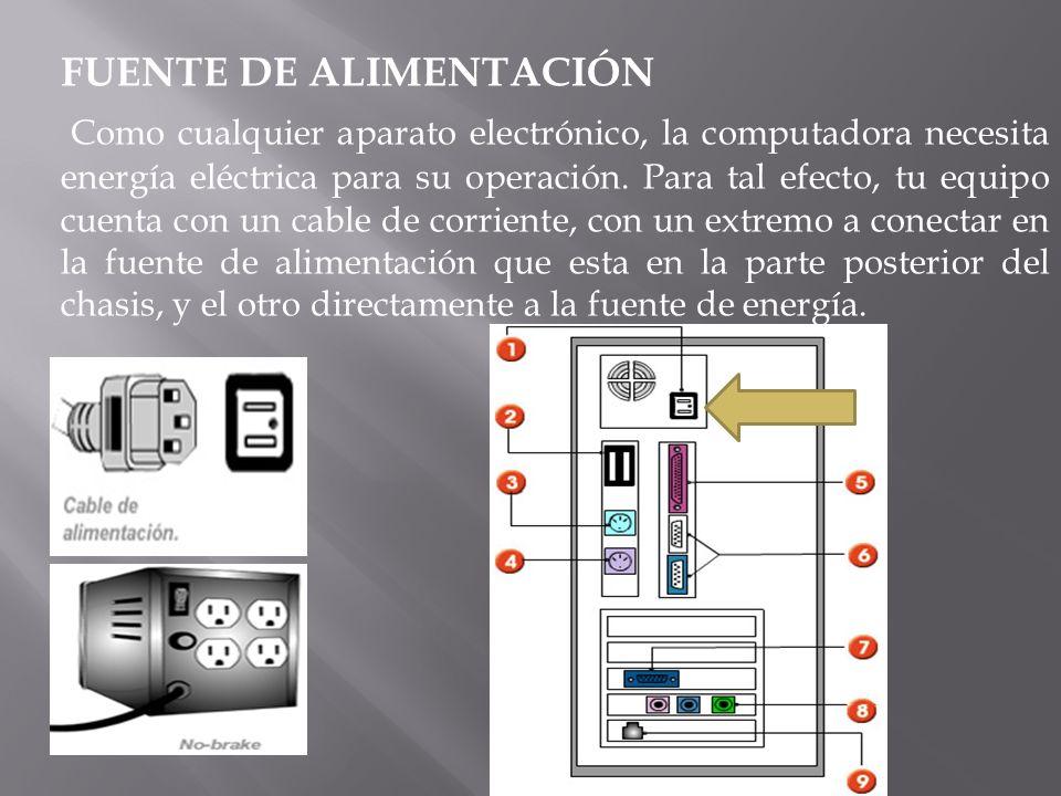 FUENTE DE ALIMENTACIÓN Como cualquier aparato electrónico, la computadora necesita energía eléctrica para su operación. Para tal efecto, tu equipo cue