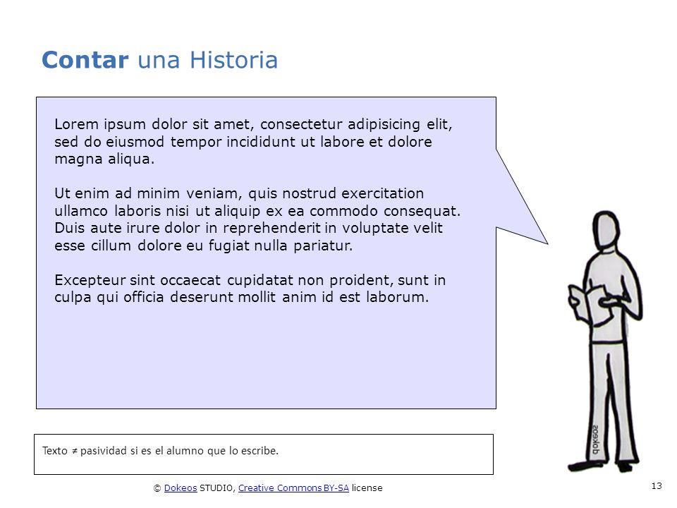 © Dokeos STUDIO, Creative Commons BY-SA licenseDokeosCreative Commons BY-SA 13 Contar una Historia Texto pasividad si es el alumno que lo escribe. Lor