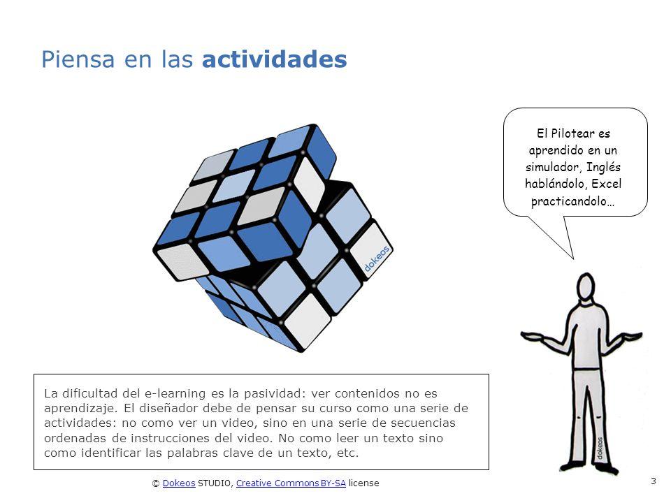 © Dokeos STUDIO, Creative Commons BY-SA licenseDokeosCreative Commons BY-SA 3 Piensa en las actividades La dificultad del e-learning es la pasividad: