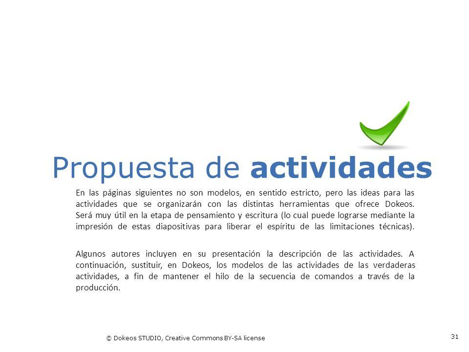 © Dokeos STUDIO, Creative Commons BY-SA license 31 Propuesta de actividades En las páginas siguientes no son modelos, en sentido estricto, pero las id