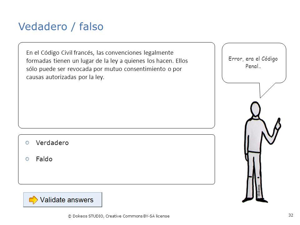 © Dokeos STUDIO, Creative Commons BY-SA license 32 Vedadero / falso Error, era el Código Penal.. En el Código Civil francés, las convenciones legalmen