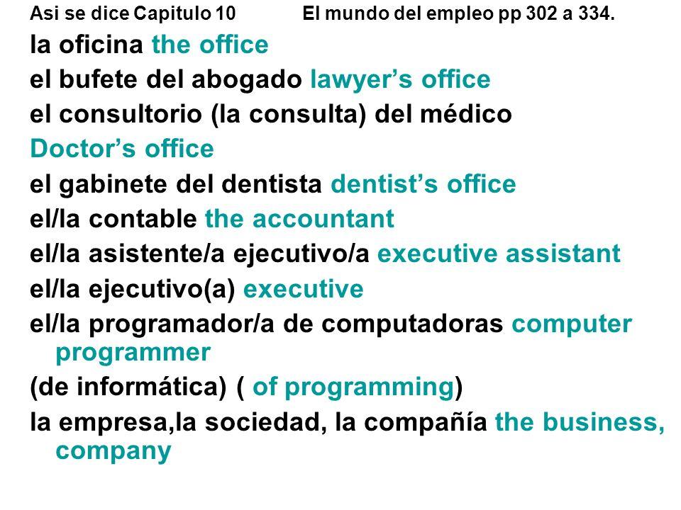 Asi se dice Capitulo 10El mundo del empleo pp 302 a 334. la oficina the office el bufete del abogado lawyers office el consultorio (la consulta) del m
