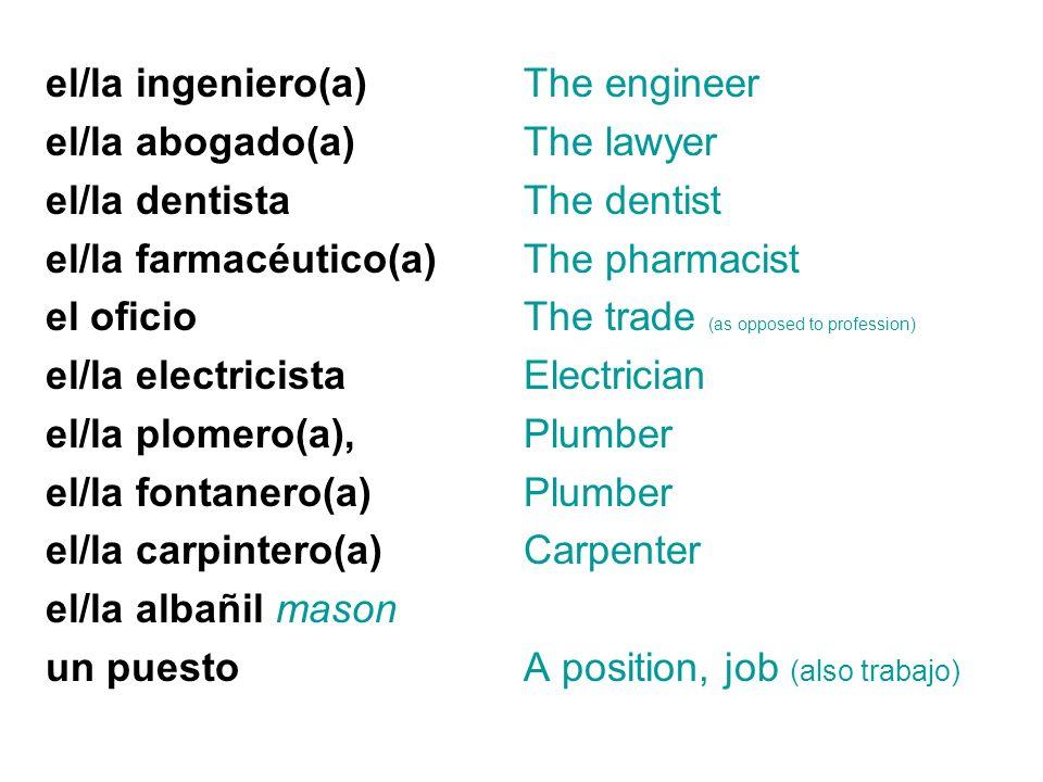 el/la ingeniero(a) el/la abogado(a) el/la dentista el/la farmacéutico(a) el oficio el/la electricista el/la plomero(a), el/la fontanero(a) el/la carpi