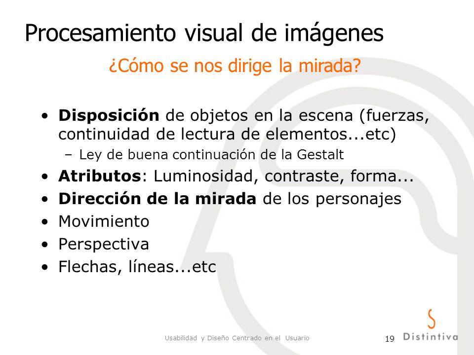 Usabilidad y Diseño Centrado en el Usuario 19 Procesamiento visual de imágenes Disposición de objetos en la escena (fuerzas, continuidad de lectura de