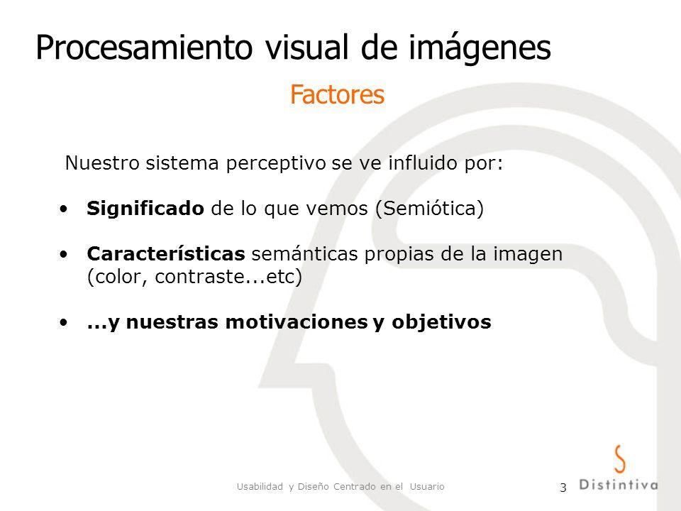 Usabilidad y Diseño Centrado en el Usuario 4 Procesamiento visual de imágenes Percepción: proceso por medio del cual el individuo selecciona, organiza e interpreta los estímulos según sus deseos, necesidades y experiencias (aprendizaje y memoria).