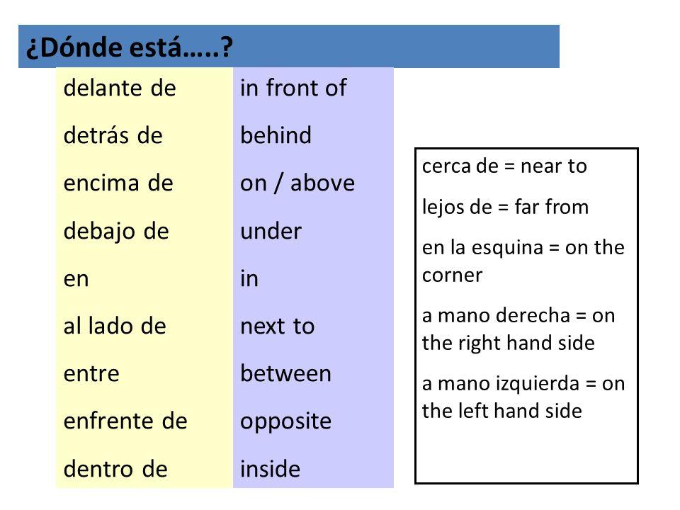 ¿Dónde está…..? delante de detrás de encima de debajo de en al lado de entre enfrente de dentro de in front of behind on / above under in next to betw