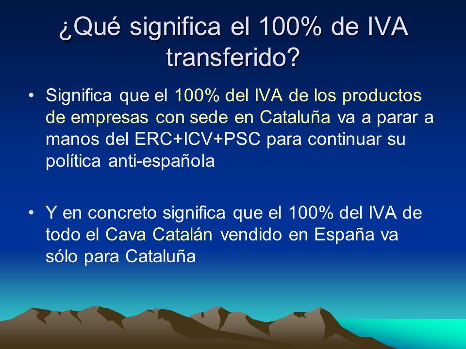 ¿Qué significa el 100% de IVA transferido? Significa que el 100% del IVA de los productos de empresas con sede en Cataluña va a parar a manos del ERC+