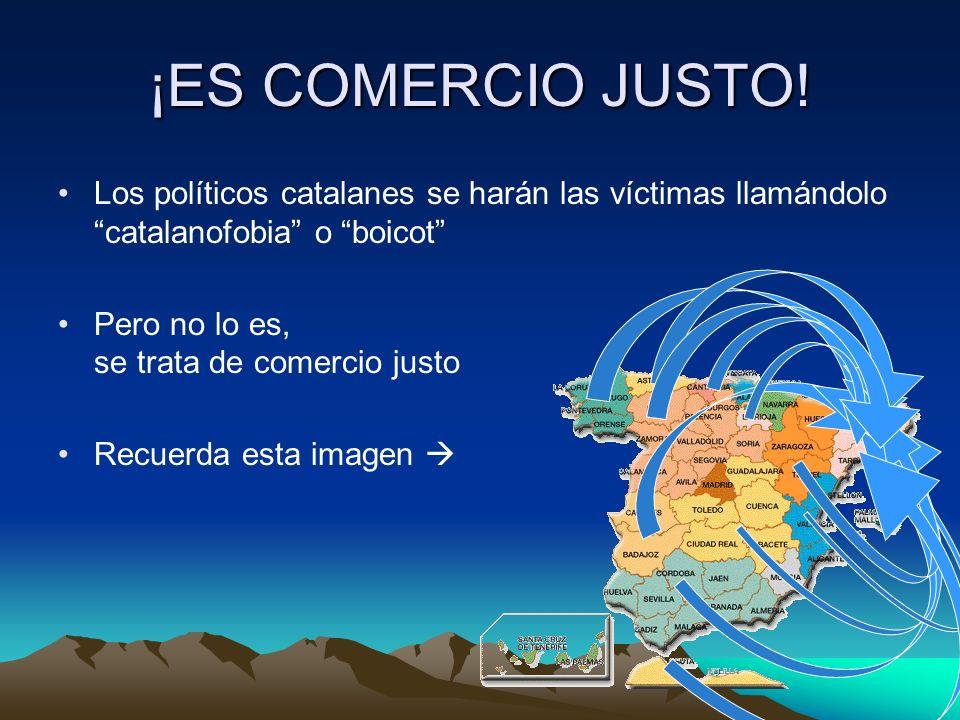 ¡ES COMERCIO JUSTO! Los políticos catalanes se harán las víctimas llamándolo catalanofobia o boicot Pero no lo es, se trata de comercio justo Recuerda