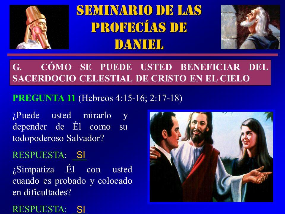 19 ¿Simpatiza Él con usted cuando es probado y colocado en dificultades? RESPUESTA: ___ Seminario de las Profecías de Daniel PREGUNTA 11 (Hebreos 4:15