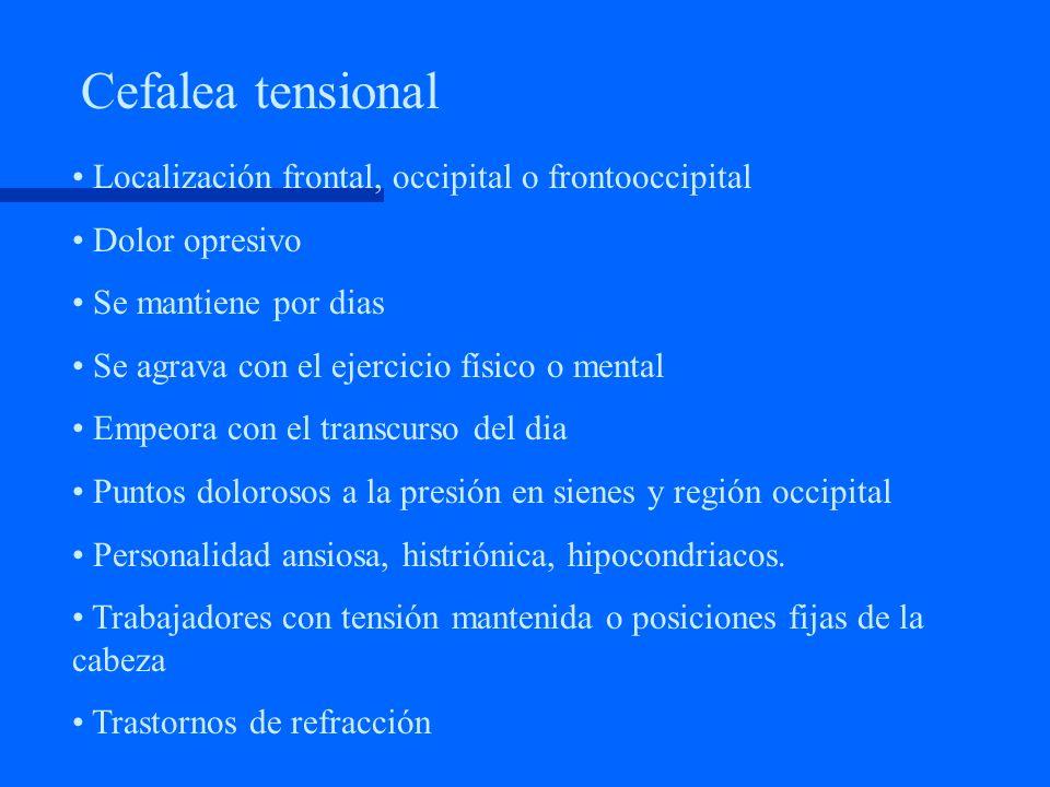 Caracterización de la cefalea. Migraña. Dolor hemicraneo pulsátil. Crisis de 1 a 72 horas de duración Síntomas premonitorios Náuseas, vómitos Fonofobi