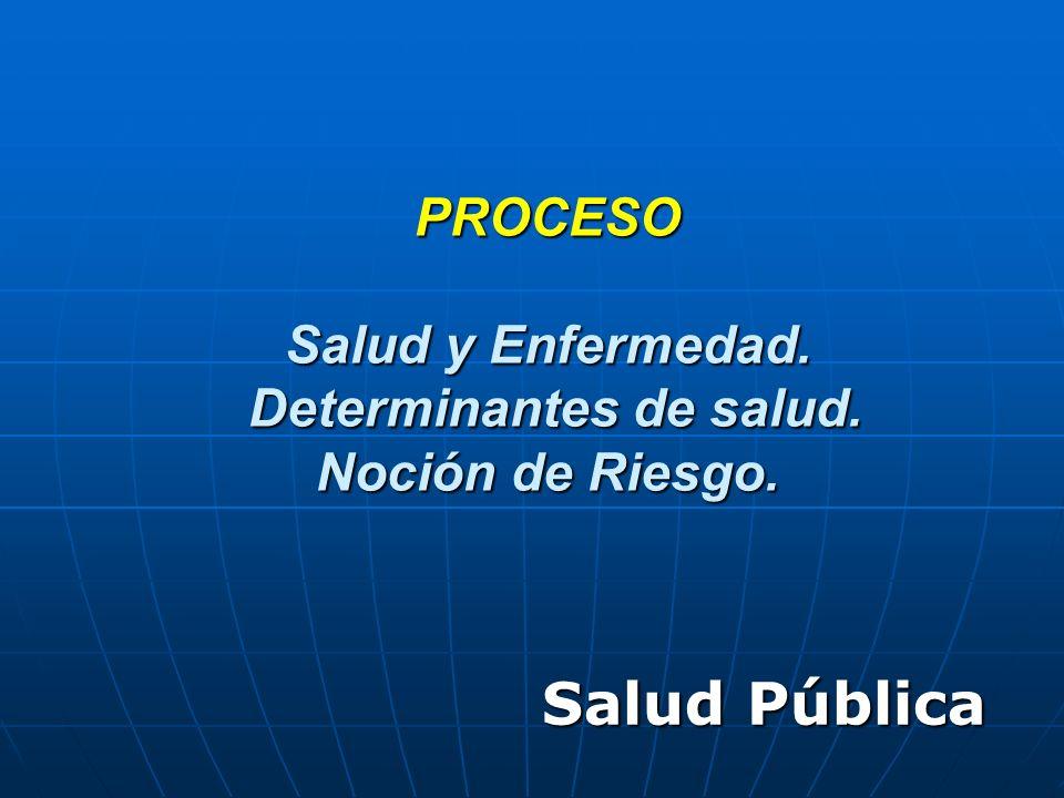 PROCESO Salud y Enfermedad. Determinantes de salud. Noción de Riesgo. Salud Pública