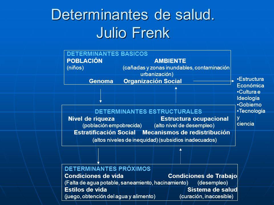 Determinantes de salud. Julio Frenk DETERMINANTES BASICOS POBLACIÓN AMBIENTE (niños) (cañadas y zonas inundables, contaminación urbanización) Genoma O