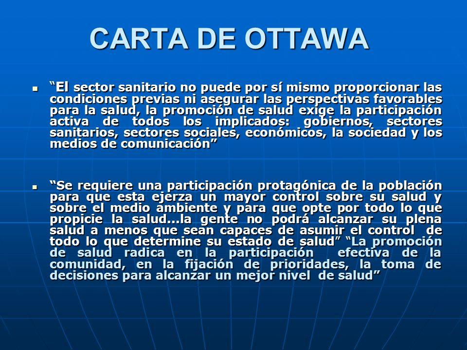 CARTA DE OTTAWA El sector sanitario no puede por sí mismo proporcionar las condiciones previas ni asegurar las perspectivas favorables para la salud,