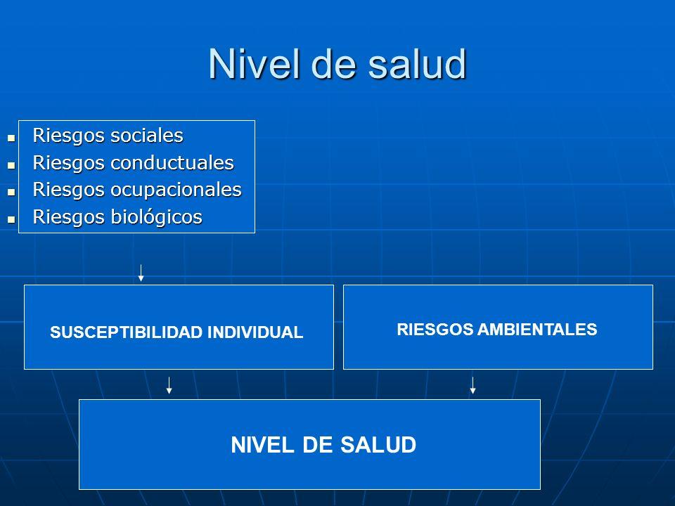 Nivel de salud Riesgos sociales Riesgos sociales Riesgos conductuales Riesgos conductuales Riesgos ocupacionales Riesgos ocupacionales Riesgos biológi