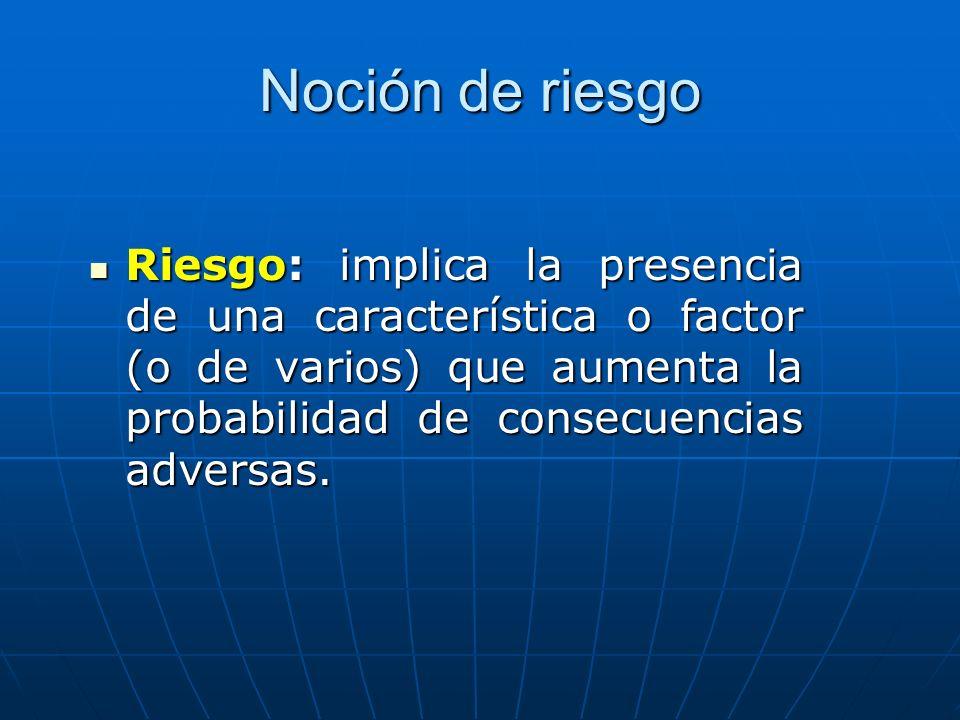 Noción de riesgo Riesgo: implica la presencia de una característica o factor (o de varios) que aumenta la probabilidad de consecuencias adversas. Ries