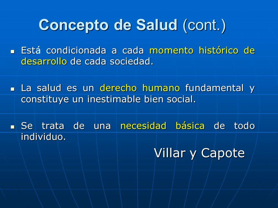 Concepto de Salud (cont.) Concepto de Salud (cont.) Est condicionada a cada momento histórico de desarrollo de cada sociedad. Está condicionada a cada