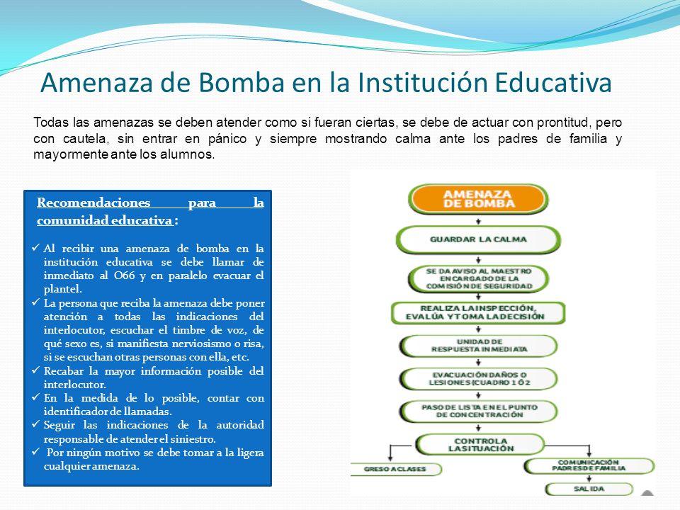 Amenaza de Bomba en la Institución Educativa Todas las amenazas se deben atender como si fueran ciertas, se debe de actuar con prontitud, pero con cau