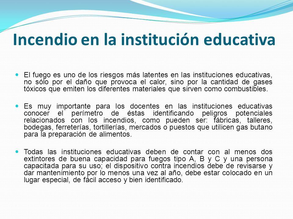 Incendio en la institución educativa El fuego es uno de los riesgos más latentes en las instituciones educativas, no sólo por el daño que provoca el c