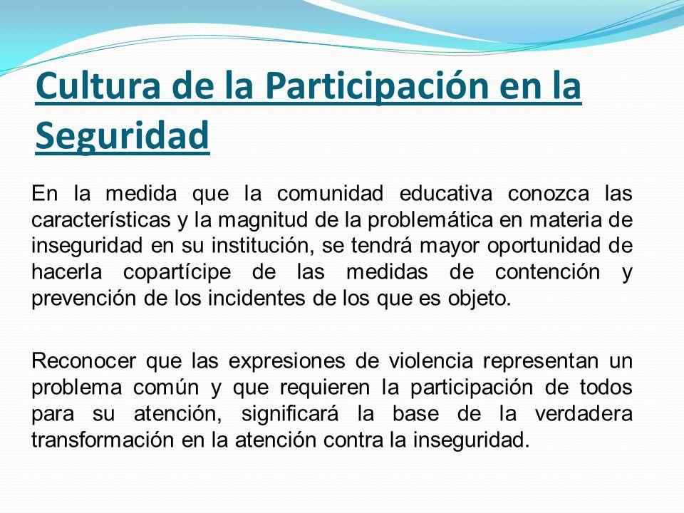 Cultura de la Participación en la Seguridad En la medida que la comunidad educativa conozca las características y la magnitud de la problemática en ma
