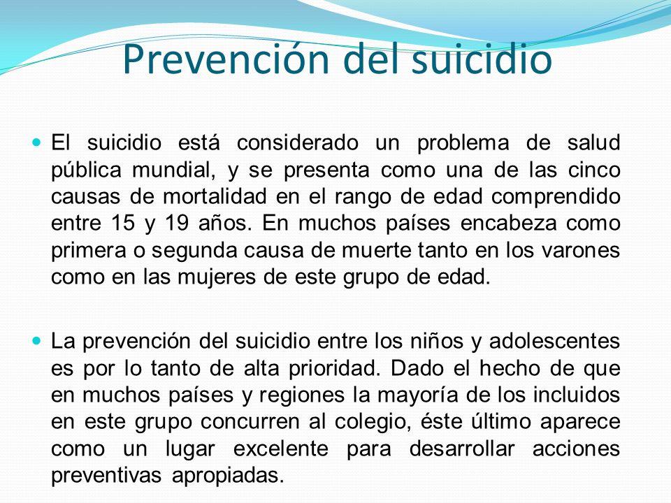 Prevención del suicidio El suicidio está considerado un problema de salud pública mundial, y se presenta como una de las cinco causas de mortalidad en