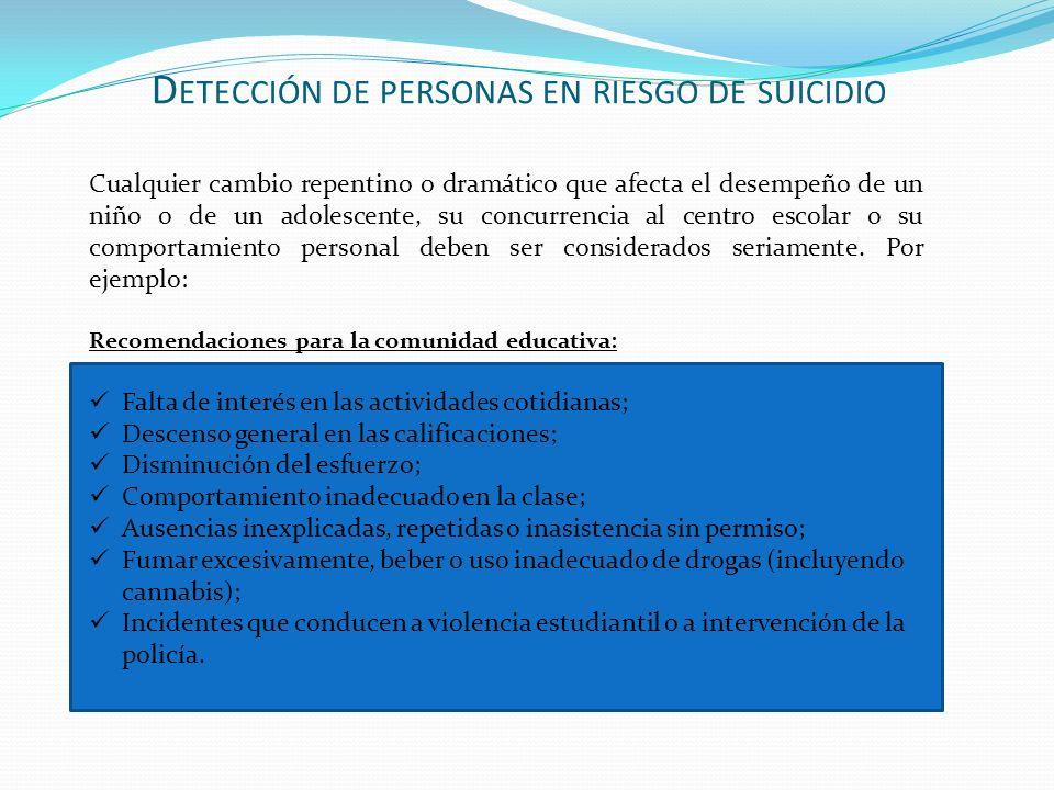 D ETECCIÓN DE PERSONAS EN RIESGO DE SUICIDIO Cualquier cambio repentino o dramático que afecta el desempeño de un niño o de un adolescente, su concurr