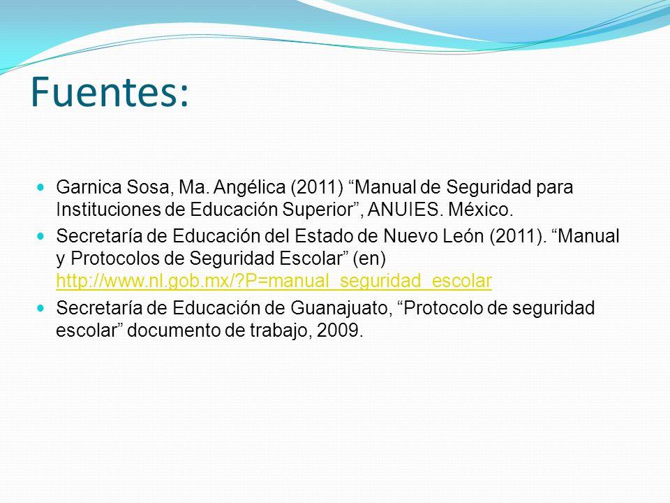 Fuentes: Garnica Sosa, Ma. Angélica (2011) Manual de Seguridad para Instituciones de Educación Superior, ANUIES. México. Secretaría de Educación del E