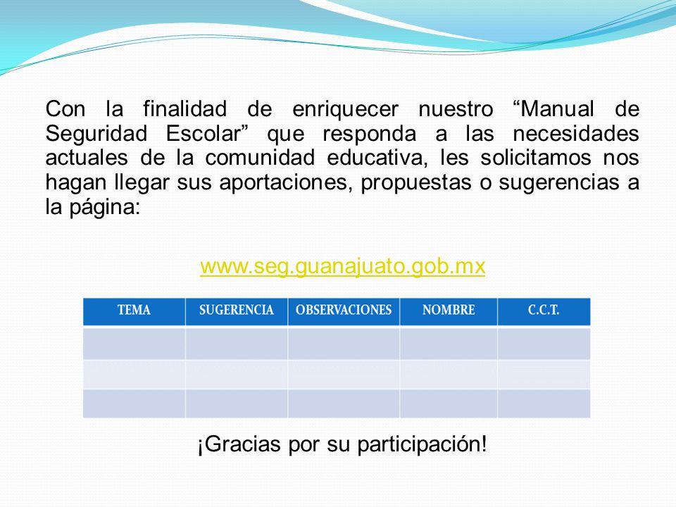 Con la finalidad de enriquecer nuestro Manual de Seguridad Escolar que responda a las necesidades actuales de la comunidad educativa, les solicitamos
