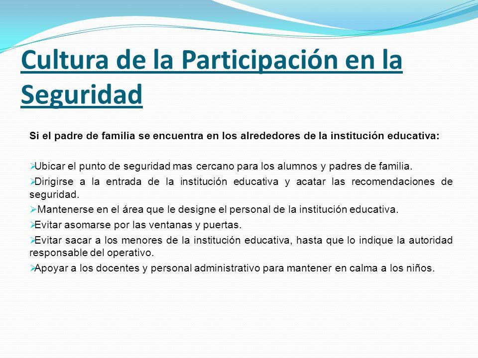 Cultura de la Participación en la Seguridad Si el padre de familia se encuentra en los alrededores de la institución educativa: Ubicar el punto de seg