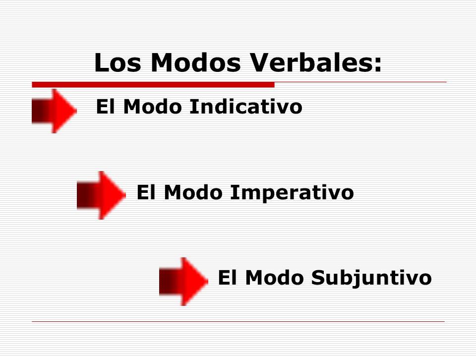 Los Modos Verbales: El Modo Indicativo El Modo Imperativo El Modo Subjuntivo