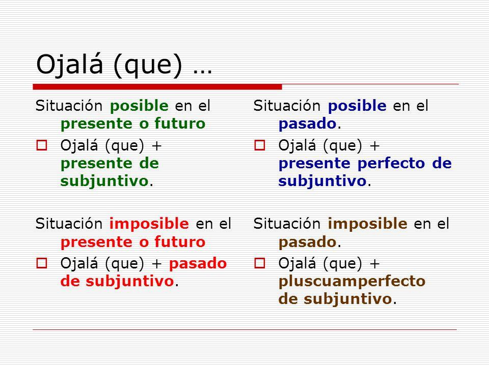 Ojalá (que) … Situación posible en el presente o futuro Ojalá (que) + presente de subjuntivo. Situación imposible en el presente o futuro Ojalá (que)