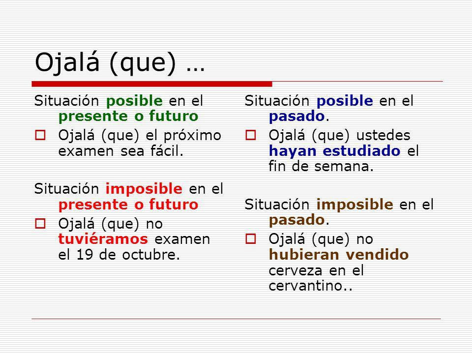 Ojalá (que) … Situación posible en el presente o futuro Ojalá (que) el próximo examen sea fácil. Situación imposible en el presente o futuro Ojalá (qu