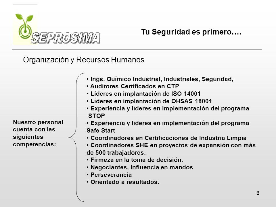 8 Organización y Recursos Humanos Ings. Químico Industrial, Industriales, Seguridad, Auditores Certificados en CTP Líderes en implantación de ISO 1400