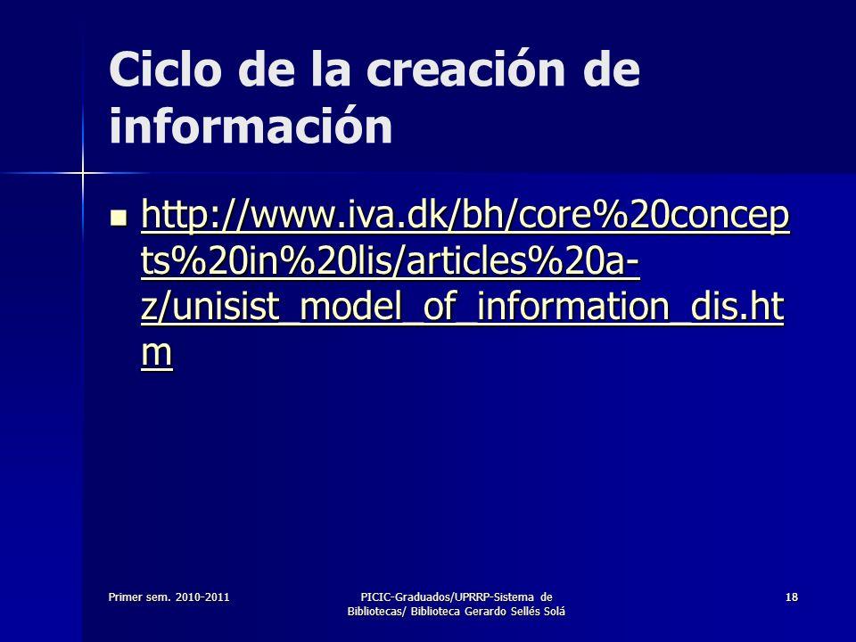 Primer sem. 2010-2011PICIC-Graduados/UPRRP-Sistema de Bibliotecas/ Biblioteca Gerardo Sellés Solá 1818 http://www.iva.dk/bh/core%20concep ts%20in%20li