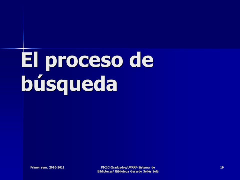 Primer sem. 2010-2011PICIC-Graduados/UPRRP-Sistema de Bibliotecas/ Biblioteca Gerardo Sellés Solá 19 El proceso de búsqueda