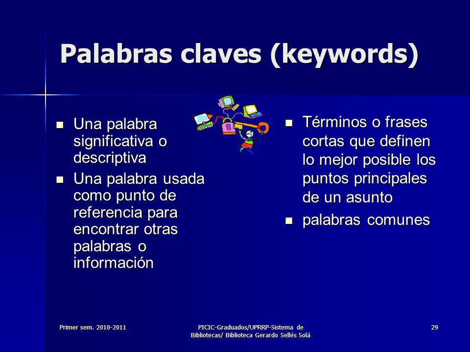 Primer sem. 2010-2011PICIC-Graduados/UPRRP-Sistema de Bibliotecas/ Biblioteca Gerardo Sellés Solá 29 Palabras claves (keywords) Una palabra significat