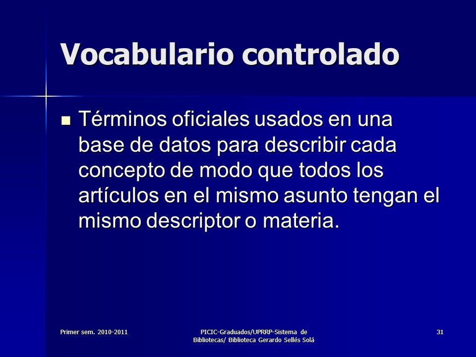 Primer sem. 2010-2011PICIC-Graduados/UPRRP-Sistema de Bibliotecas/ Biblioteca Gerardo Sellés Solá 31 Vocabulario controlado Términos oficiales usados