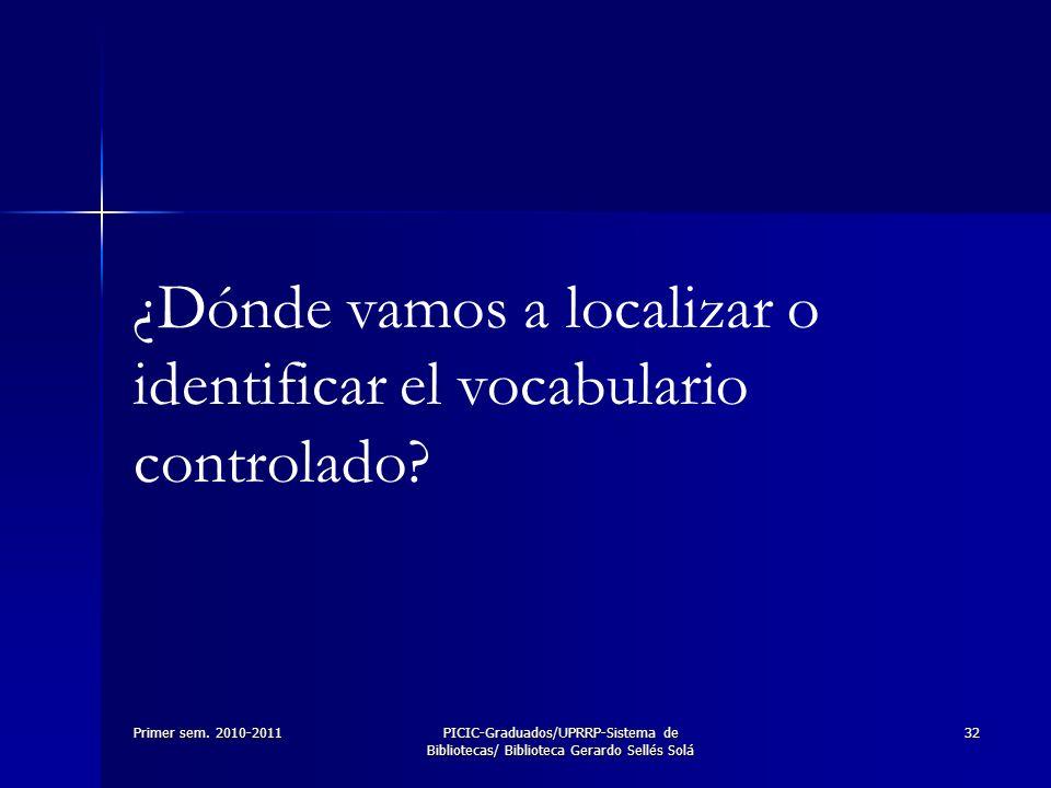 Primer sem. 2010-2011PICIC-Graduados/UPRRP-Sistema de Bibliotecas/ Biblioteca Gerardo Sellés Solá 32 ¿Dónde vamos a localizar o identificar el vocabul