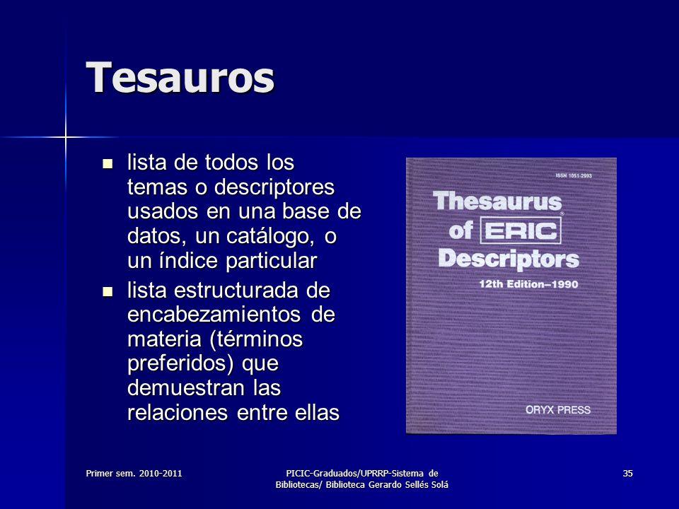 Primer sem. 2010-2011PICIC-Graduados/UPRRP-Sistema de Bibliotecas/ Biblioteca Gerardo Sellés Solá 35 Tesauros lista de todos los temas o descriptores