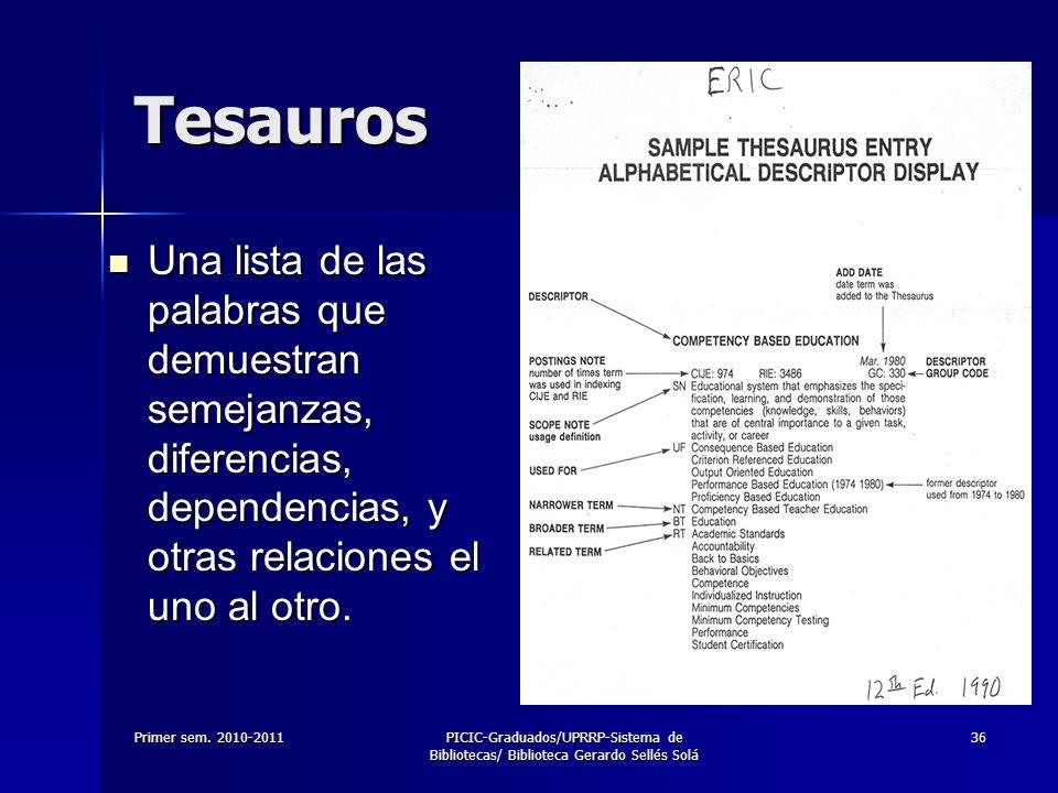 Primer sem. 2010-2011PICIC-Graduados/UPRRP-Sistema de Bibliotecas/ Biblioteca Gerardo Sellés Solá 36 Tesauros Una lista de las palabras que demuestran