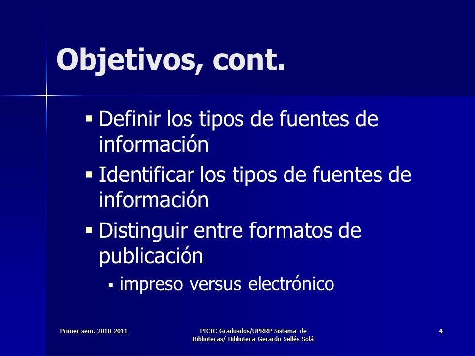 Primer sem. 2010-2011PICIC-Graduados/UPRRP-Sistema de Bibliotecas/ Biblioteca Gerardo Sellés Solá 44 Definir los tipos de fuentes de información Ident