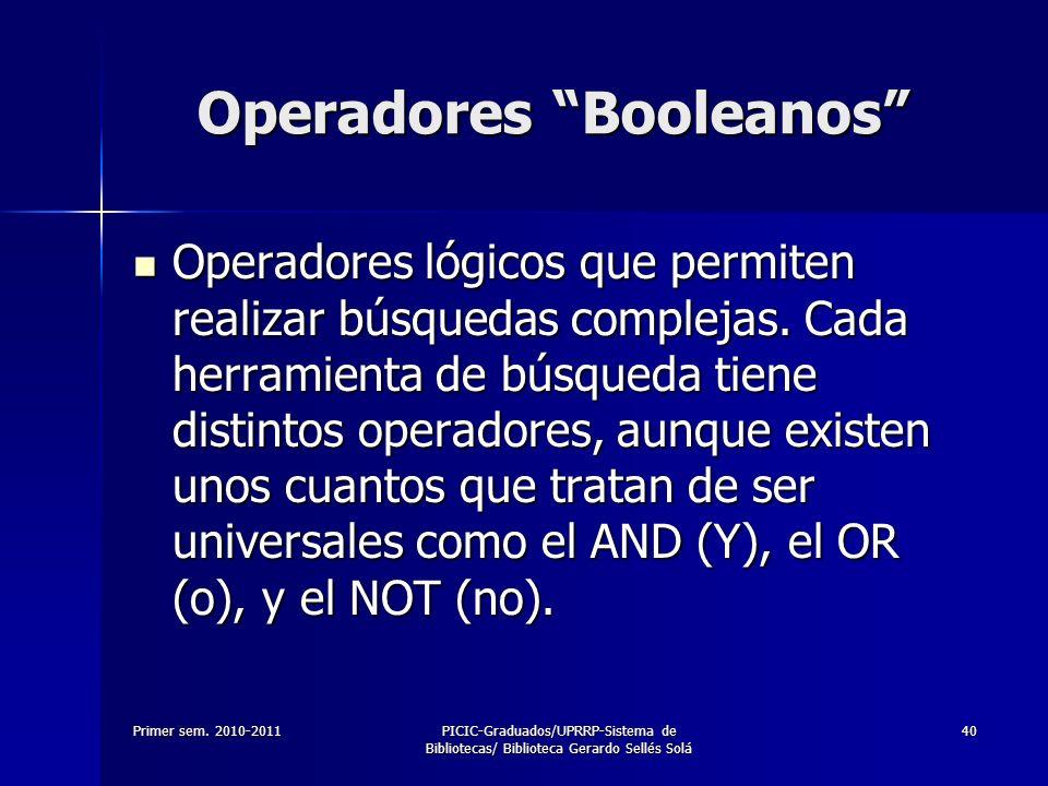 Primer sem. 2010-2011PICIC-Graduados/UPRRP-Sistema de Bibliotecas/ Biblioteca Gerardo Sellés Solá 40 Operadores Booleanos Operadores lógicos que permi