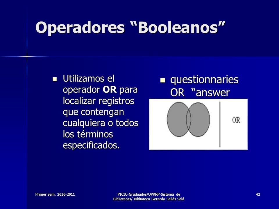 Primer sem. 2010-2011PICIC-Graduados/UPRRP-Sistema de Bibliotecas/ Biblioteca Gerardo Sellés Solá 42 Operadores Booleanos Utilizamos el operador OR pa