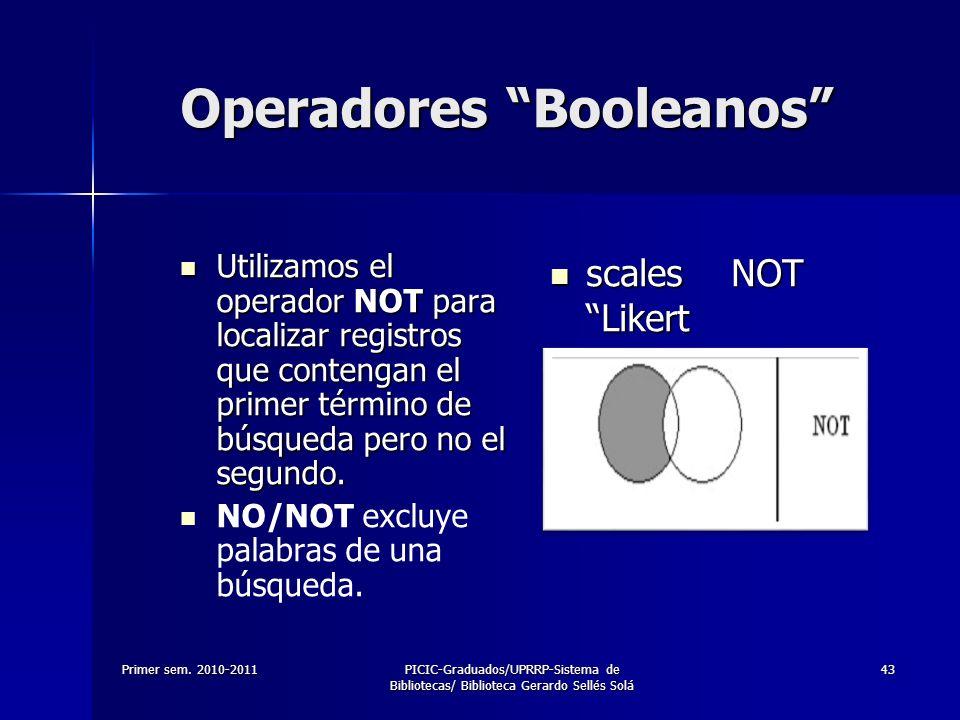 Primer sem. 2010-2011PICIC-Graduados/UPRRP-Sistema de Bibliotecas/ Biblioteca Gerardo Sellés Solá 43 Operadores Booleanos Utilizamos el operador NOT p