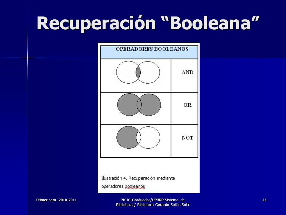Primer sem. 2010-2011PICIC-Graduados/UPRRP-Sistema de Bibliotecas/ Biblioteca Gerardo Sellés Solá 44 Recuperación Booleana