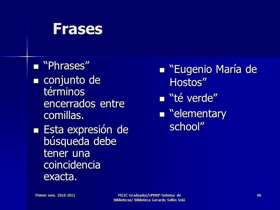 Primer sem. 2010-2011PICIC-Graduados/UPRRP-Sistema de Bibliotecas/ Biblioteca Gerardo Sellés Solá 48 Frases Phrases Phrases conjunto de términos encer